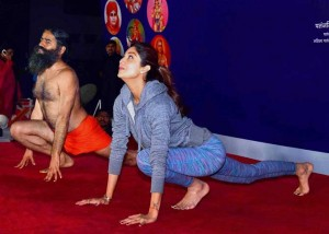 Shilpa Shetty with Baba Ramdev yoga session